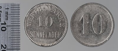 Sennelager (Allemagne) camp de prisonniers 10 pfennigs : Monnaies de guerre