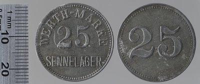 Sennelager (Allemagne) camp de prisonniers 25 pfennigs : Monnaies de guerre