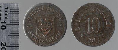 Berzabern (coll. Westerkamp) 10 pfennigs , 1917 : Monnaies de guerre / Balmberger, C., Nuremberg (Allemagne)