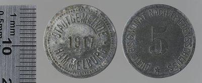 Hammelburg Stadtgemeinde 5 pfennigs , 1917 «Güldig bis sechs Monate nach Friedenschluss» : Monnaies de guerre / Balmberger, C., Nuremberg (Allemagne)
