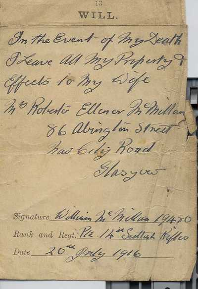 Photographs and documents relating to Pte Wm Mcmillan (11)