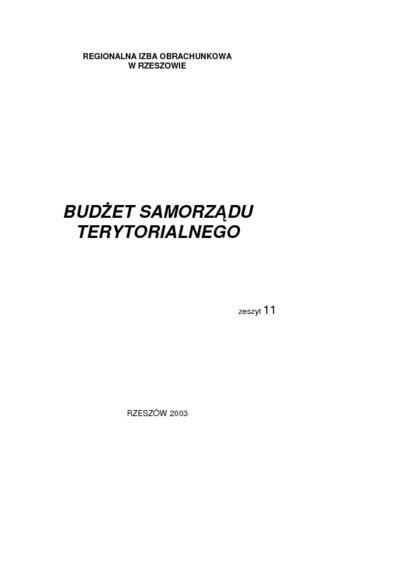 Budżet Samorządu Terytorialnego. 2003, z. 11