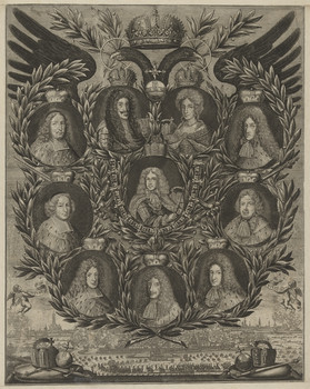 Gruppenbildnis des Leopold I., der Eleonore Magdalene, des Joseph I. und der sieben Kurfürsten