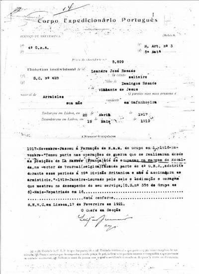 Boletim dactilografado de Leandro José Rosado, soldado condutor