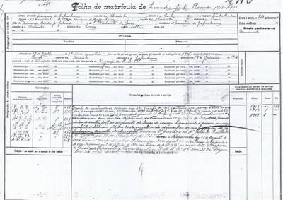 Folha de Matrícula de Leandro José Rosado, soldado condutor no C.E.P.
