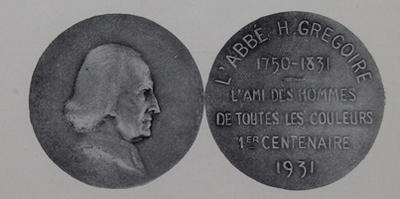 Deux faces d'une pièce de monnaie représentant l'Abbé Grégoire, zélateur de l'émancipation des Juifs de France durant la Révolution