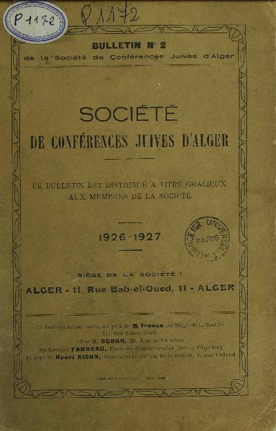 Bulletin de la Société de conférences juives d'Alger. Vol. 2 (1926-1927)