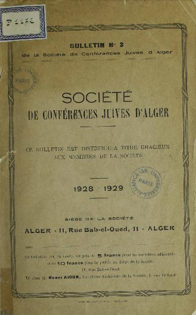 Bulletin de la Société de conférences juives d'Alger. Vol. 3 (1928-1929)