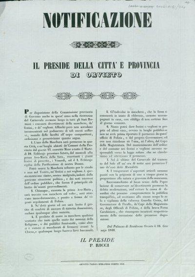 Notificazione / il preside della città e provincia di Orvieto