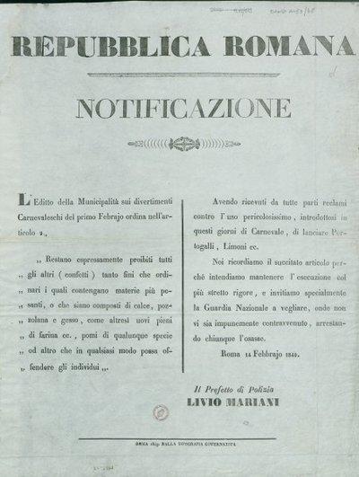 Notificazione / Repubblica Romana