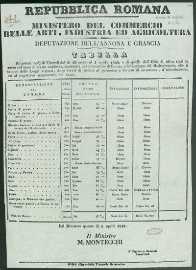Tabella, de' prezzi medj de' cereali dal di 29 marzo al 4 aprile 1849 ... / Repubblica romana. Ministero del commercio belle arti, industria ed agricoltura. Deputazione dell'annona e grascia