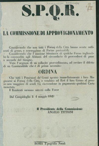 S.P.Q.R. La Commissione di approvigionamento
