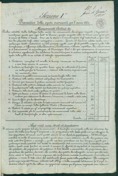 Sezione 1. : Preventivo delle spese occorrenti per l'anno 1850 : monumenti, gallerie etc