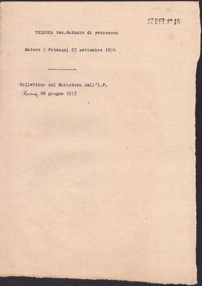Telesca Antonio, Matera
