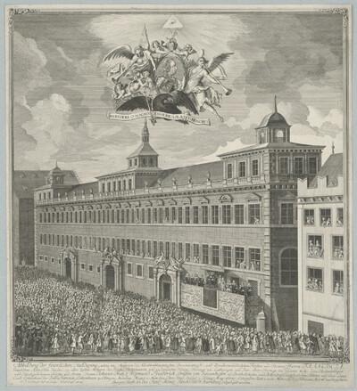 Abbildung der feierlichen Huldigung welche im Namen Franz I. von der gesamten Bürgerschaft in Nürnberg abgelegt worden, 9. Feb. 1746
