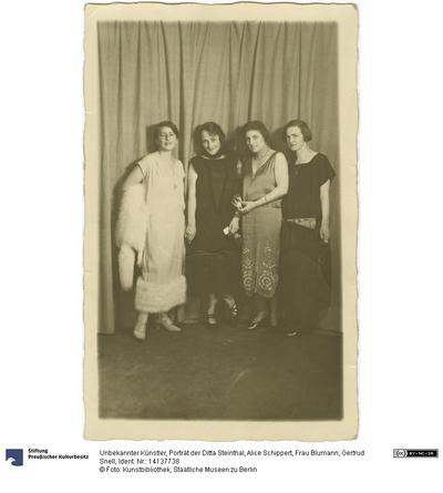 Porträt der Ditta Steinthal, Alice Schippert, Frau Blumann, Gertrud Snell