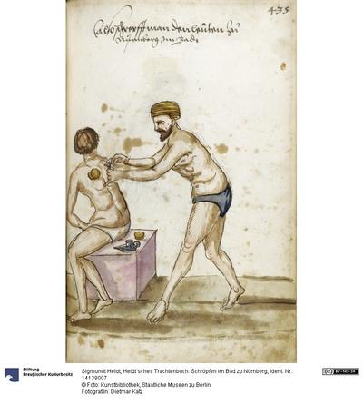 Heldt'sches Trachenbuch: Schröpfen im Bad zu Nürnberg