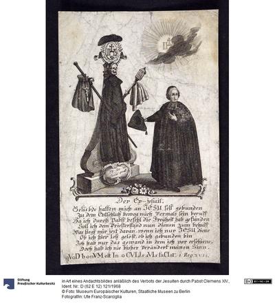 in Art eines Andachtsbildes anläßlich des Verbots der Jesuiten durch Pabst Clemens XIV.