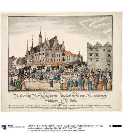 Die feierliche Beerdigung der im Straßenkampfe vom 7. May gefallenen Militairs zu Breslau.