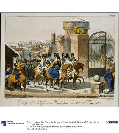 Der Einzug der Russen in Warschau den 8. Februar 1813.
