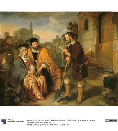 Der Feldarbeiter von Gibea bietet dem Levit und seinem Kebsweib Unterkunft