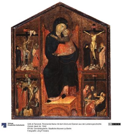 Thronende Maria mit dem Kind und Szenen aus der Leidensgeschichte Christi