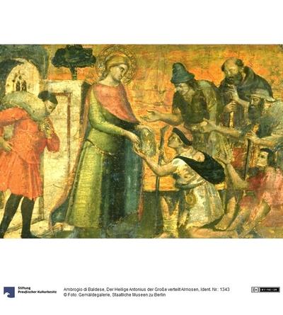 Der heilige Antonius der Große verteilt Almosen