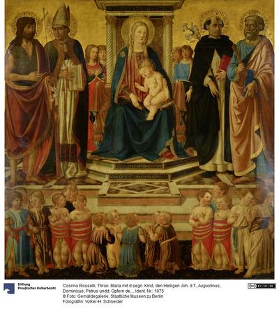 Thronende Maria mit dem segnenden Kind, den Heiligen Johannes dem Täufer, Augustinus, Dominikus, Petrus und den Opfern des Bethlehemitischen Kindermordes
