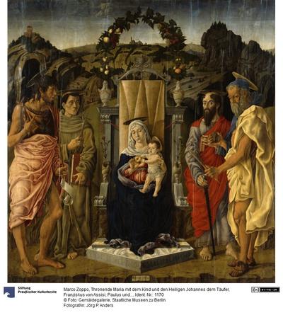 Thronende Maria mit dem Kind und den Heiligen Johannes dem Täufer, Franziskus von Assisi, Paulus und Hieronymus