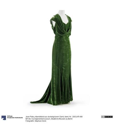 Abendkleid aus dunkelgrünem Samt