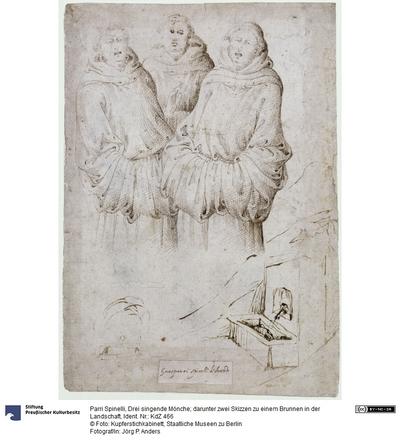 Drei singende Mönche; darunter zwei Skizzen zu einem Brunnen in der Landschaft