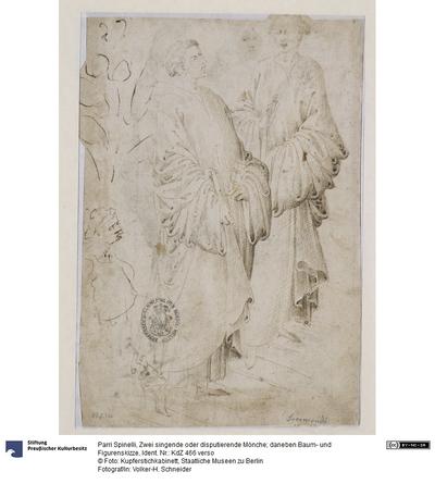 Zwei singende oder disputierende Mönche; daneben Baum- und Figurenskizze