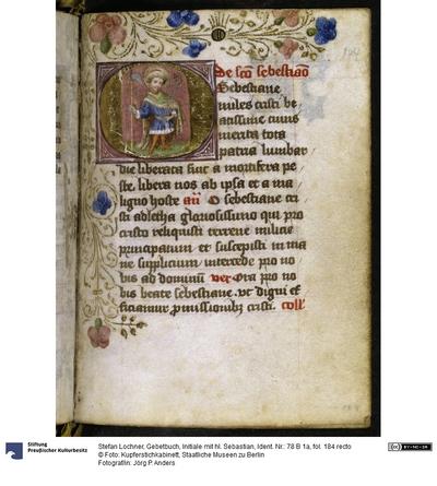 Gebetbuch, Initiale mit hl. Sebastian