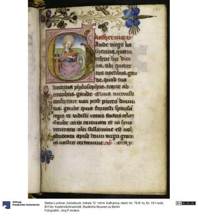 Gebetbuch, Initiale G mit hl. Katharina