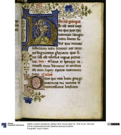 Gebetbuch, Initiale mit Hl. Georg