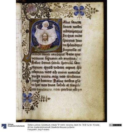 Gebetbuch, Initiale S mit hl. Veronika