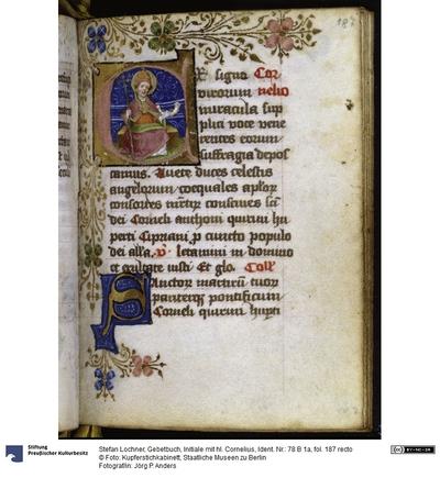 Gebetbuch, Initiale mit hl. Cornelius