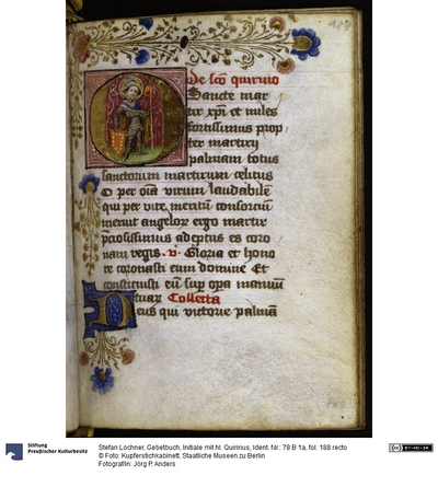 Gebetbuch, Initiale mit hl. Quirinus