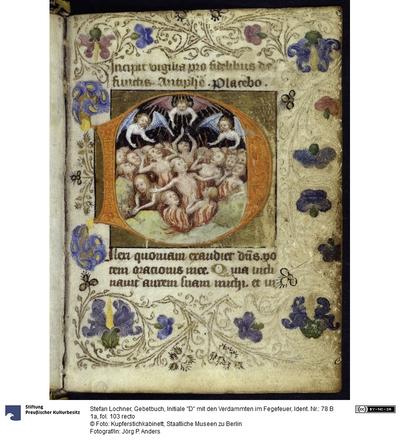 Gebetbuch, Initiale D mit den Verdammten im Fegefeuer