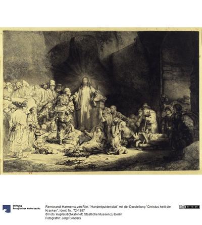 Hundertguldenblatt mit der Darstellung Christus heilt die Kranken