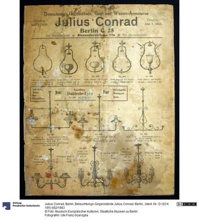 Beleuchtungs-Gegenstände Julius Conrad, Berlin.