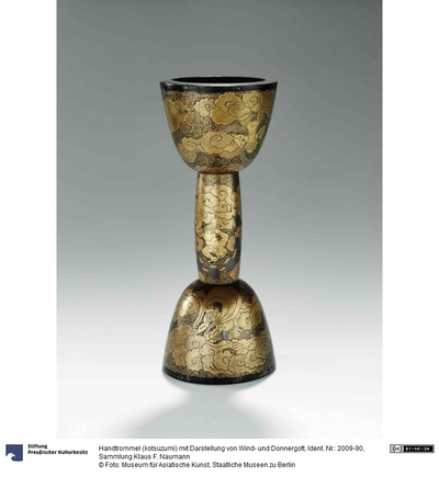 Handtrommel (kotsuzumi) mit Darstellung von Wind- und Donnergott