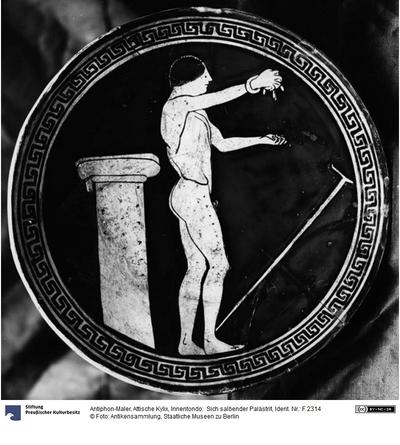 Attische Kylix, Innentondo:  Sich salbender Palästrit