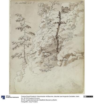 Felsenstudie mit Bäumen, darunter zwei liegende Gestalten