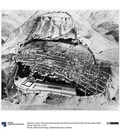 Rekonstruktionszeichnung (Tusche auf Karton): Blick auf die antike Stadt Priene