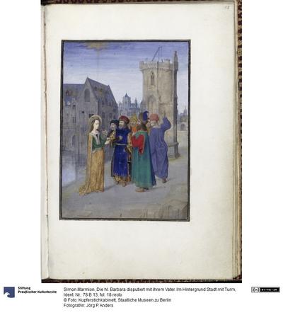 Die hl. Barbara disputiert mit ihrem Vater. Im Hintergrund Stadt mit Turm