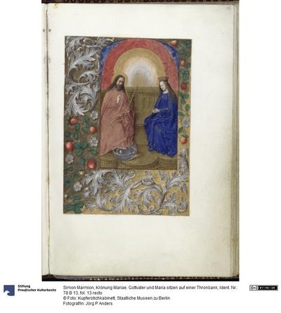 Krönung Mariae. Gottvater und Maria sitzen auf einer Thronbank