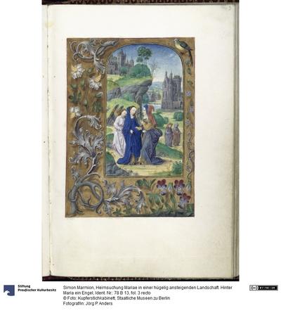 Heimsuchung Mariae in einer hügelig ansteigenden Landschaft. Hinter Maria ein Engel