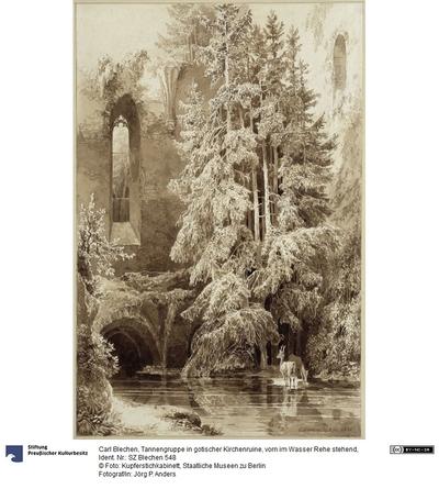 Tannengruppe in gotischer Kirchenruine, vorn im Wasser Rehe stehend