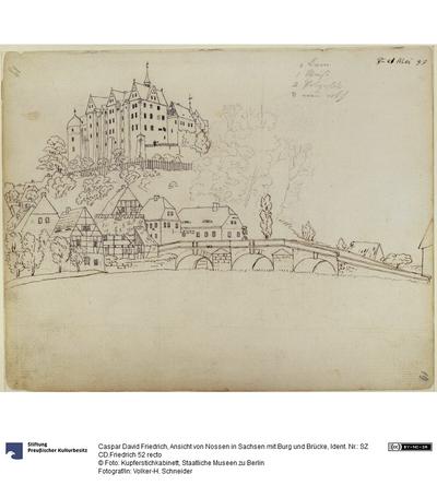 Ansicht von Nossen in Sachsen mit Burg und Brücke